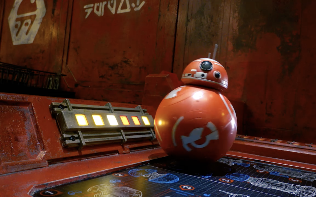 A completed red BB droid