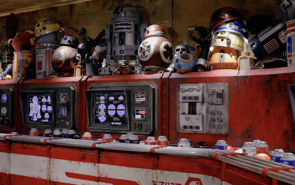 Droid assembly line with parts