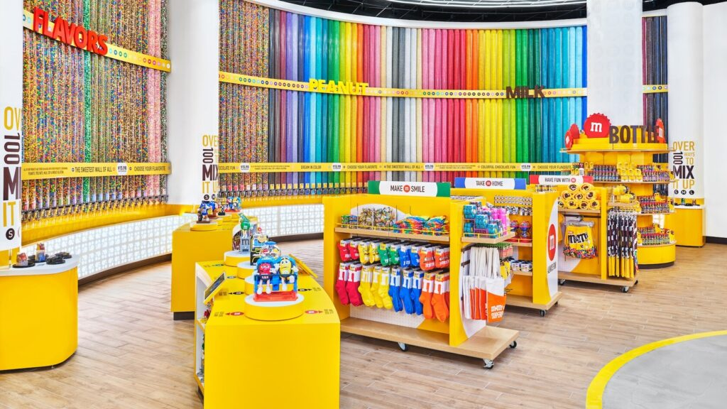 M&M candy walls and merchandise