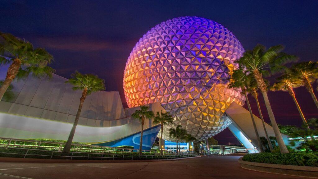 Geodesic sphere at night