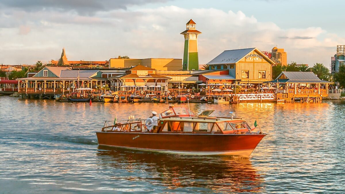 Boat on the water with dining