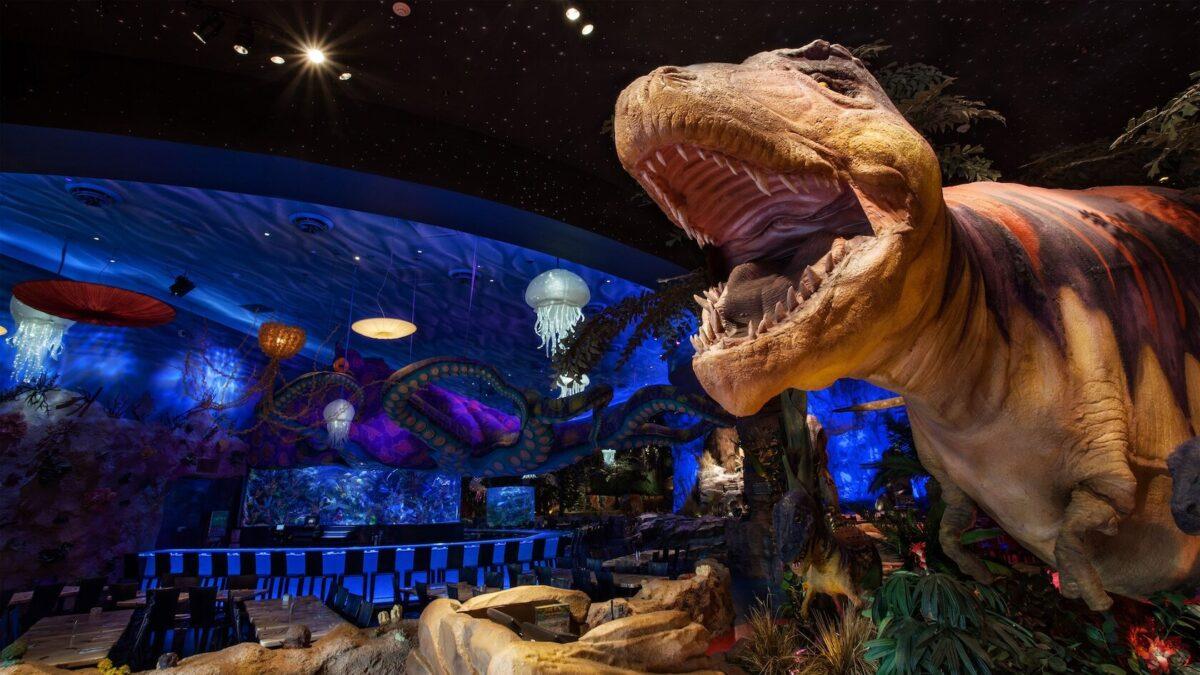 T-REX dinosaur in restaurant
