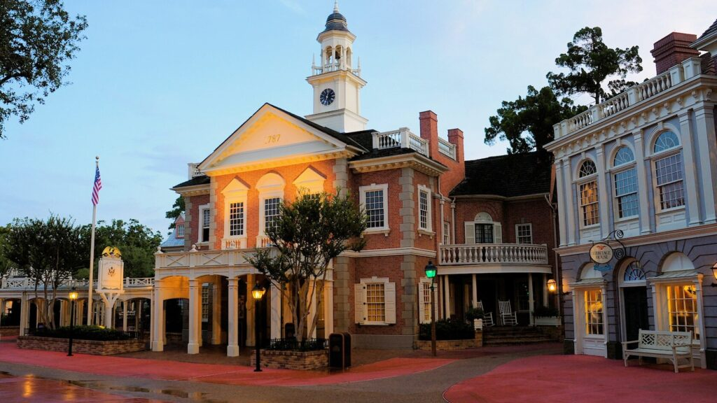 Colonial building with cobblestone