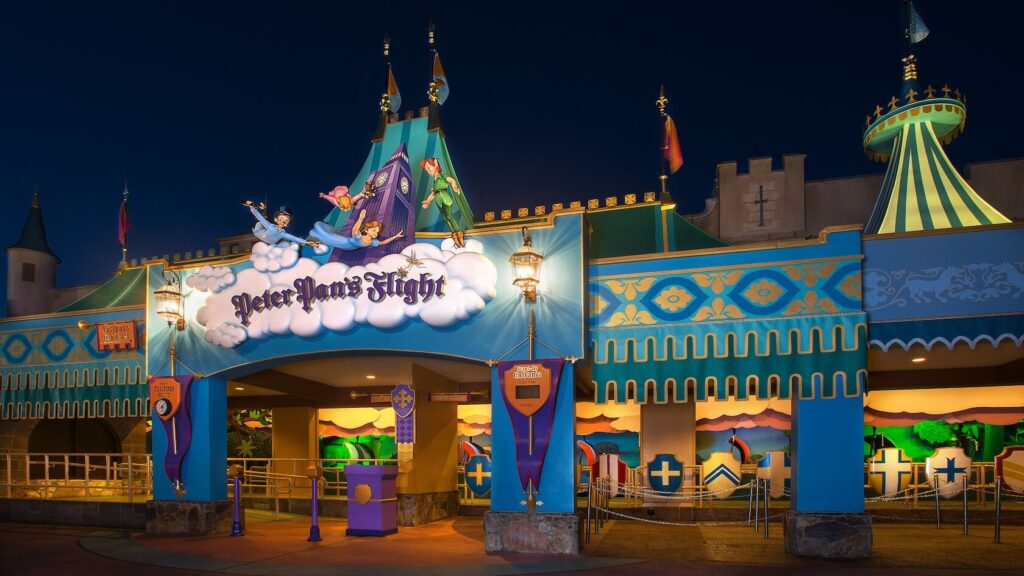 Peter Pan attraction at night