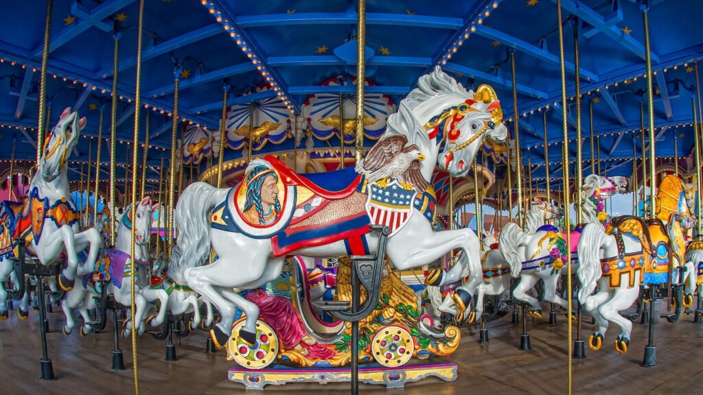 Decorated White Carousel horse