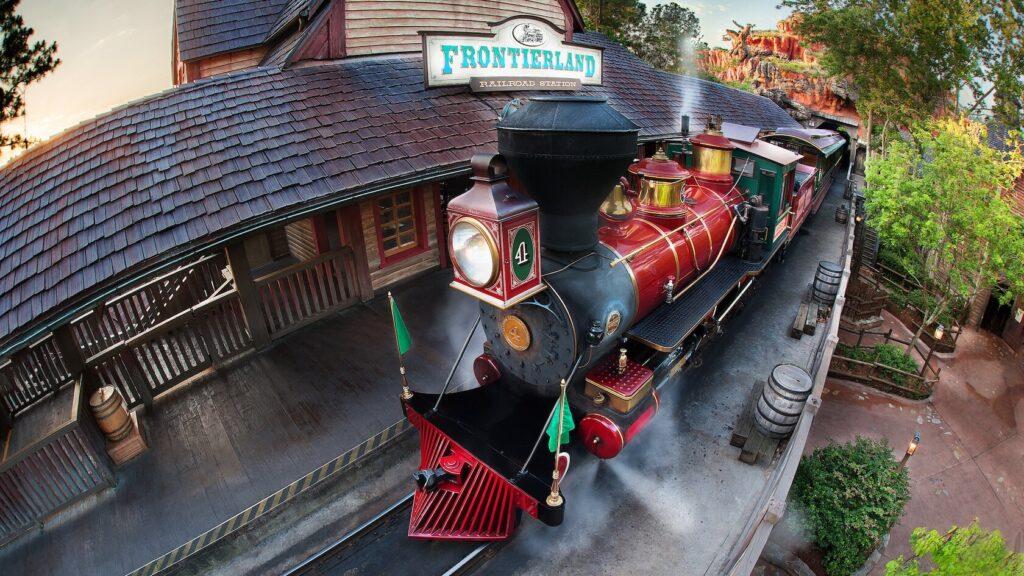 Steam engine train on tracks