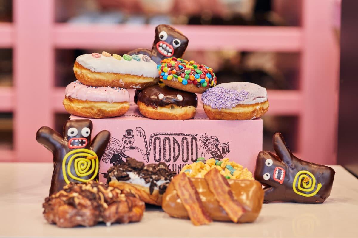 Decorative donuts around a pink box