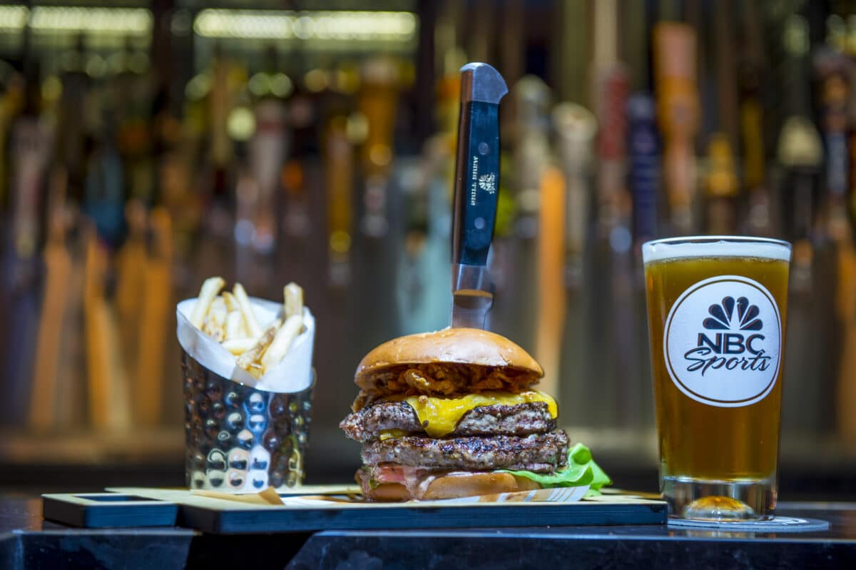 Burger, fries and beer on tray