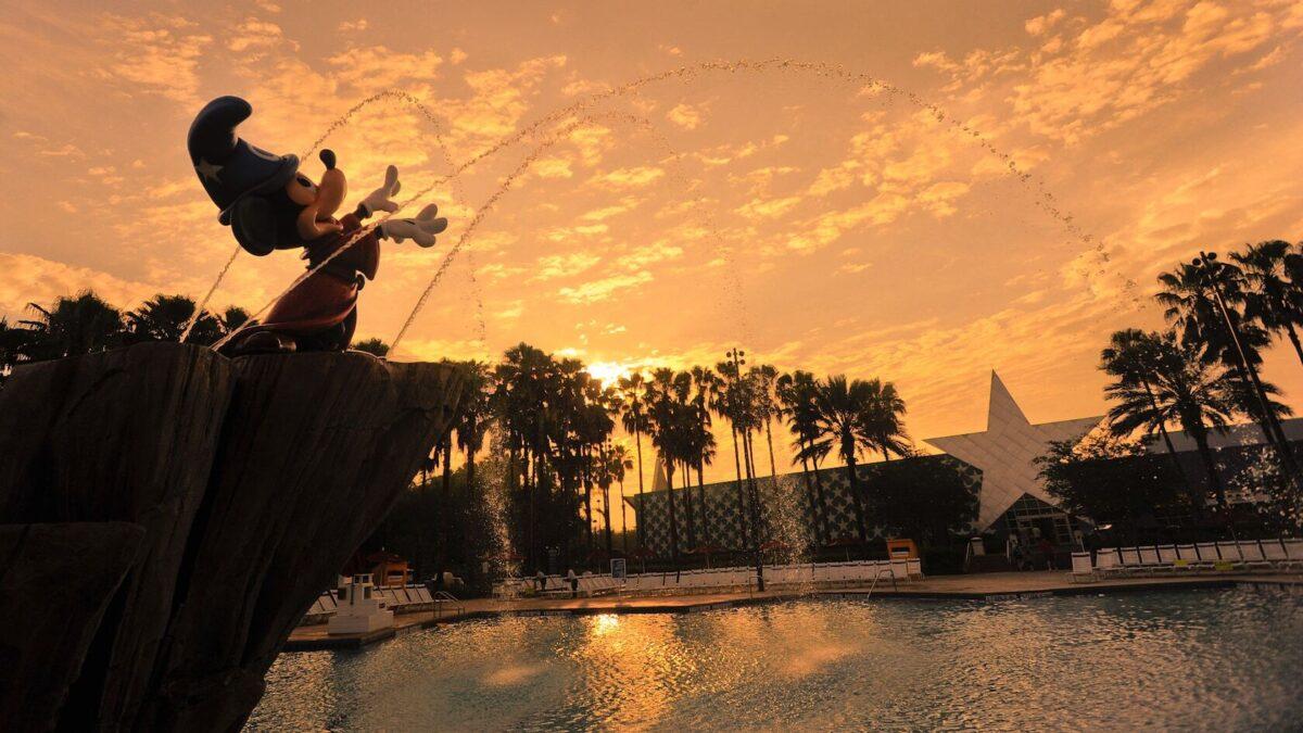 Fantasia Mickey water fountain