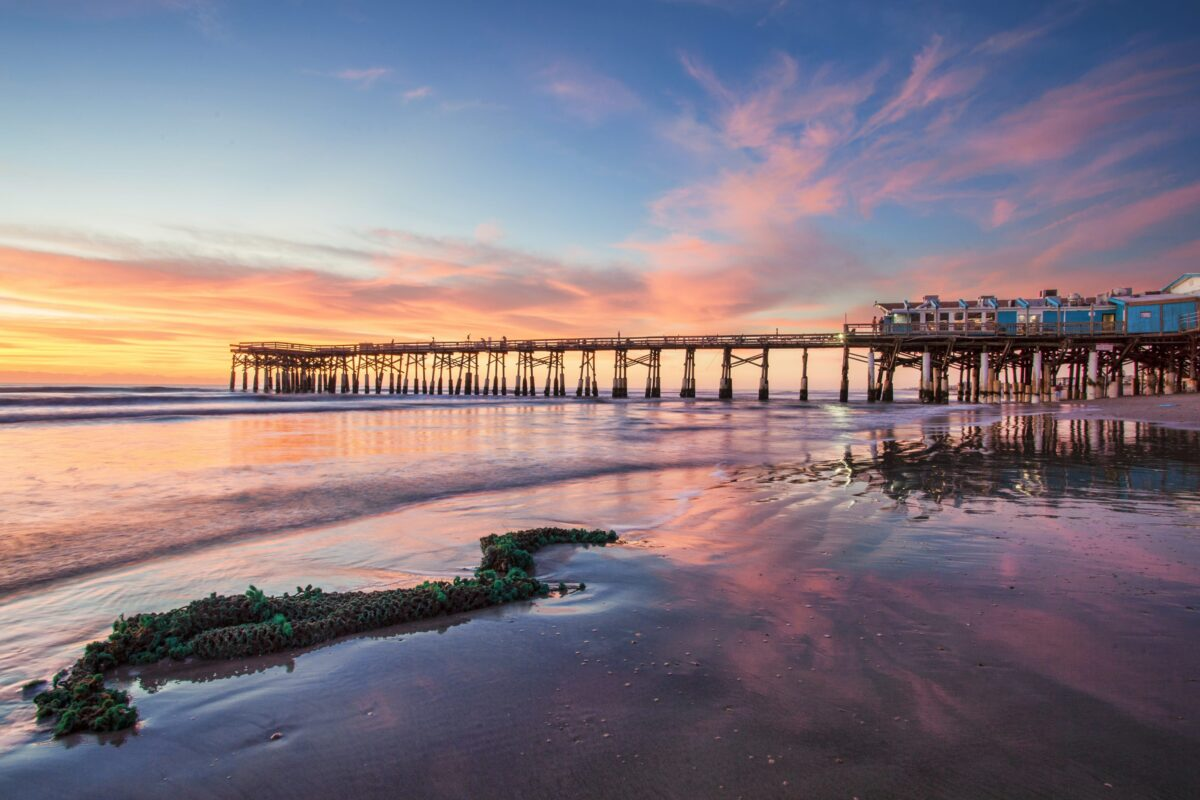 Sunset on the beach with pier