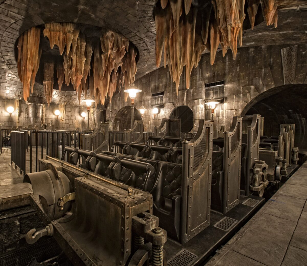 Ride attraction vehicle for Gringotts