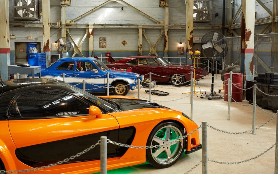 Exotic cars inside a garage