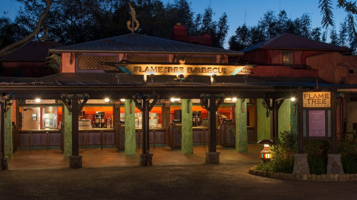 Exterior of Flame Tree BBQ at night