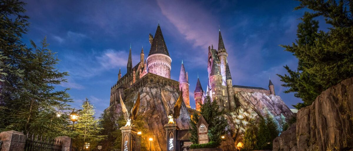 Hogwarts Castle at night time