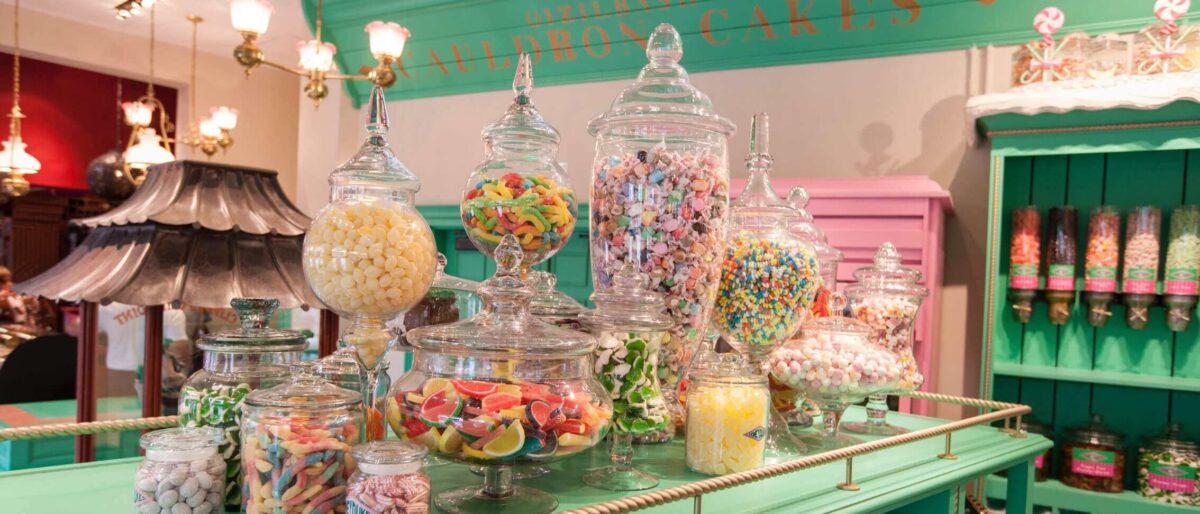 Jars of candy on a shelf
