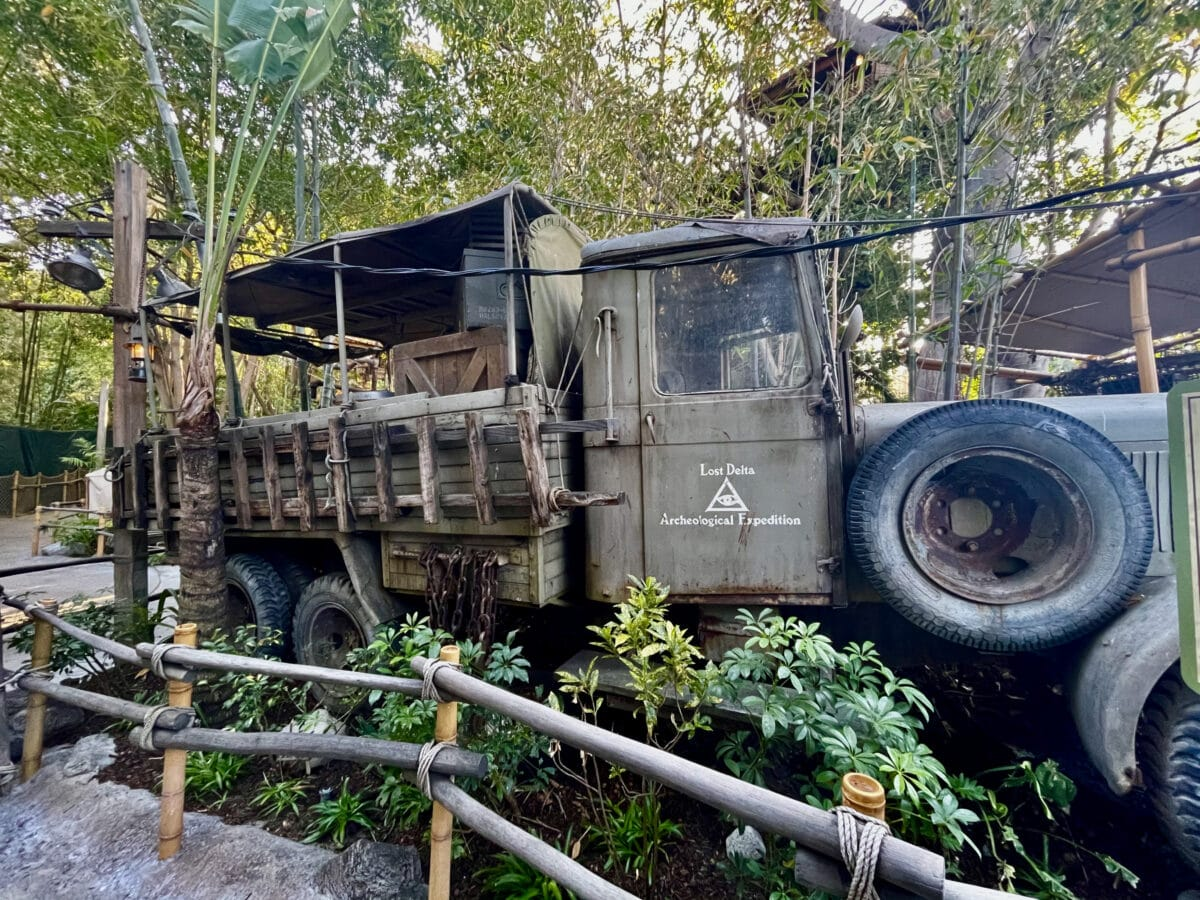 Military truck parked in foliage
