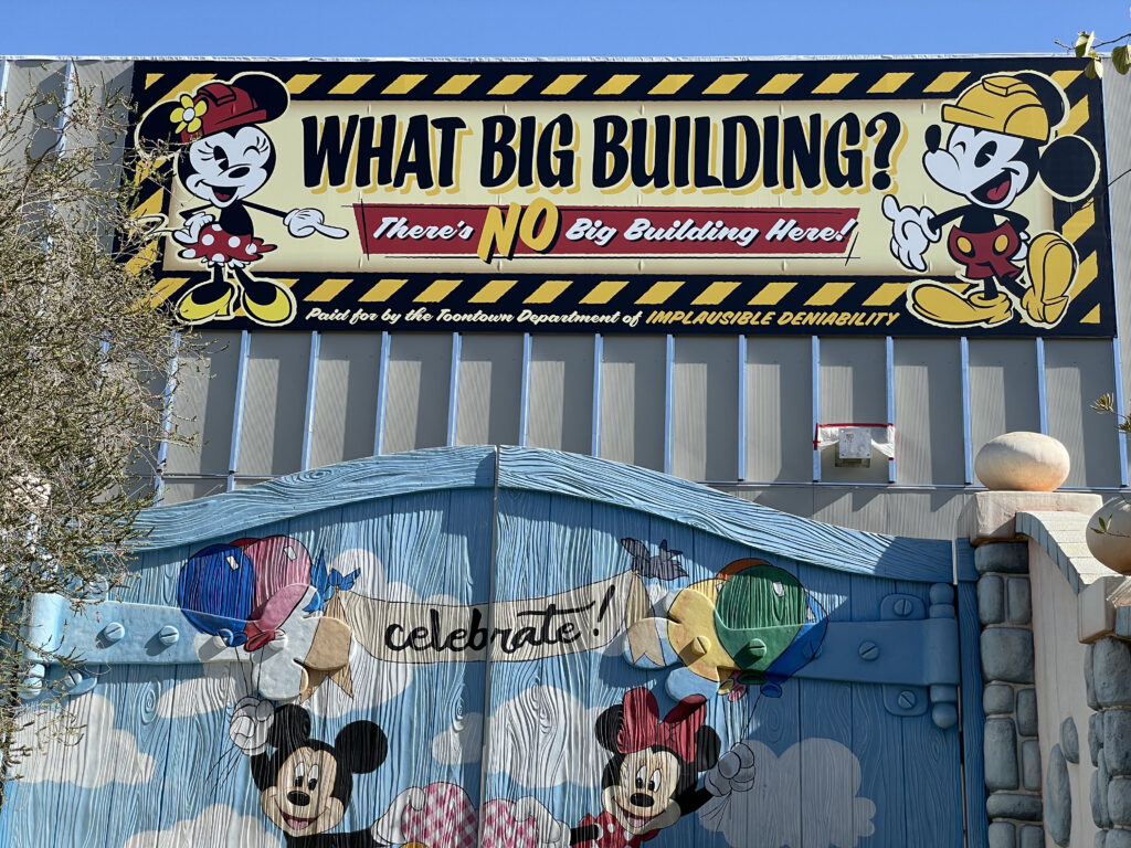 Construction sign with Mickey and Minnie