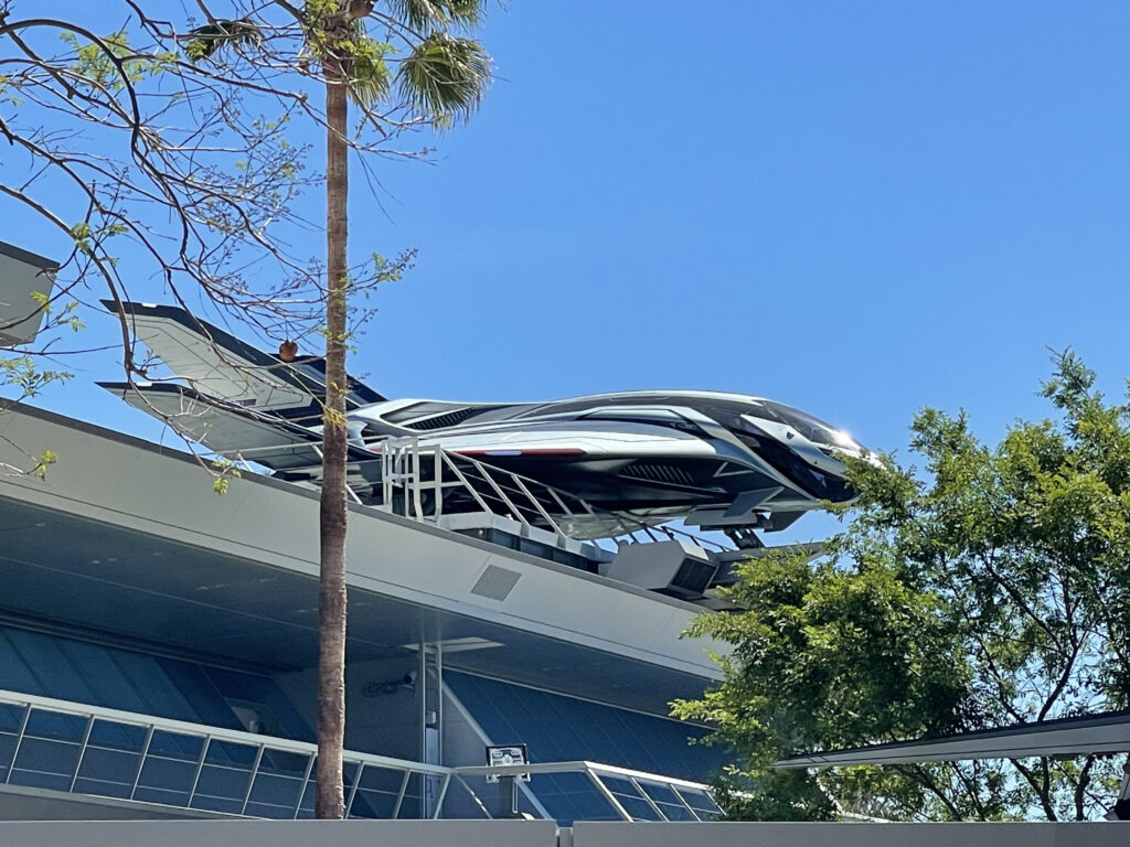 Avengers jet ship onto of building