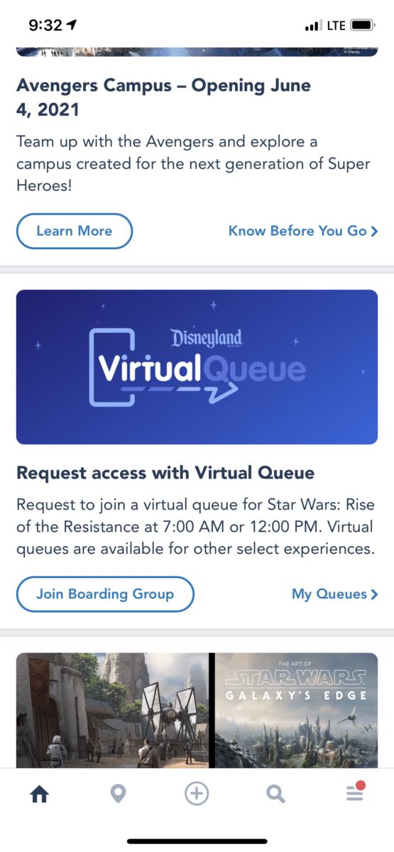 Virtual Queue banner page on app