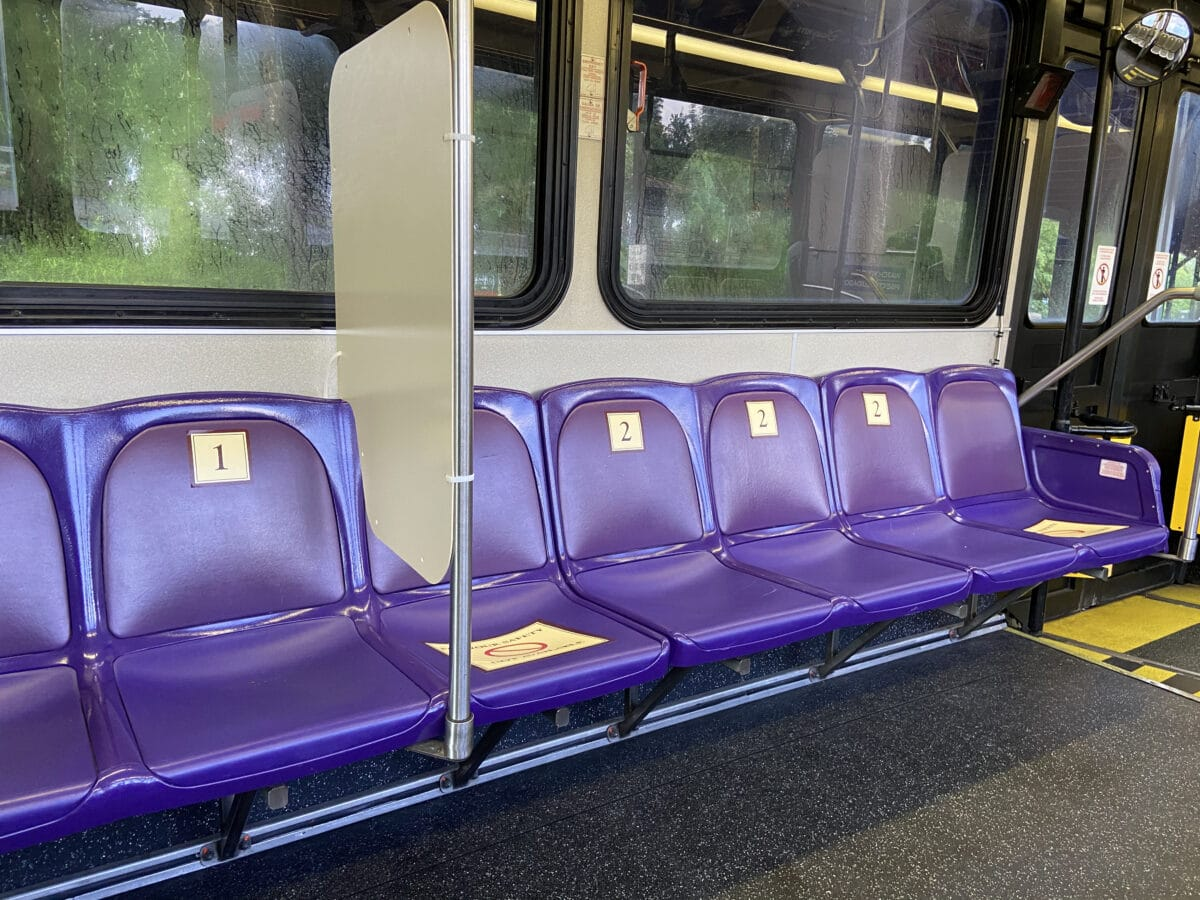 Bus seats with number tags