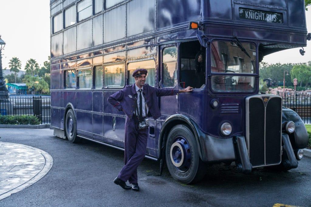 Purple double decker bus