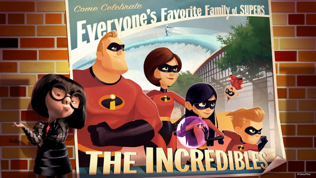 Edna Mode with poster of Incredible Family