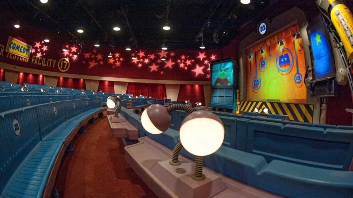 Auditorium dressed like Monsters Inc. facility