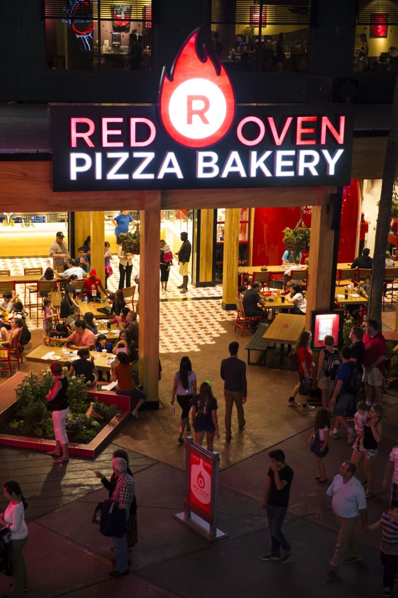 Exterior of Red Oven Pizza Restaurant