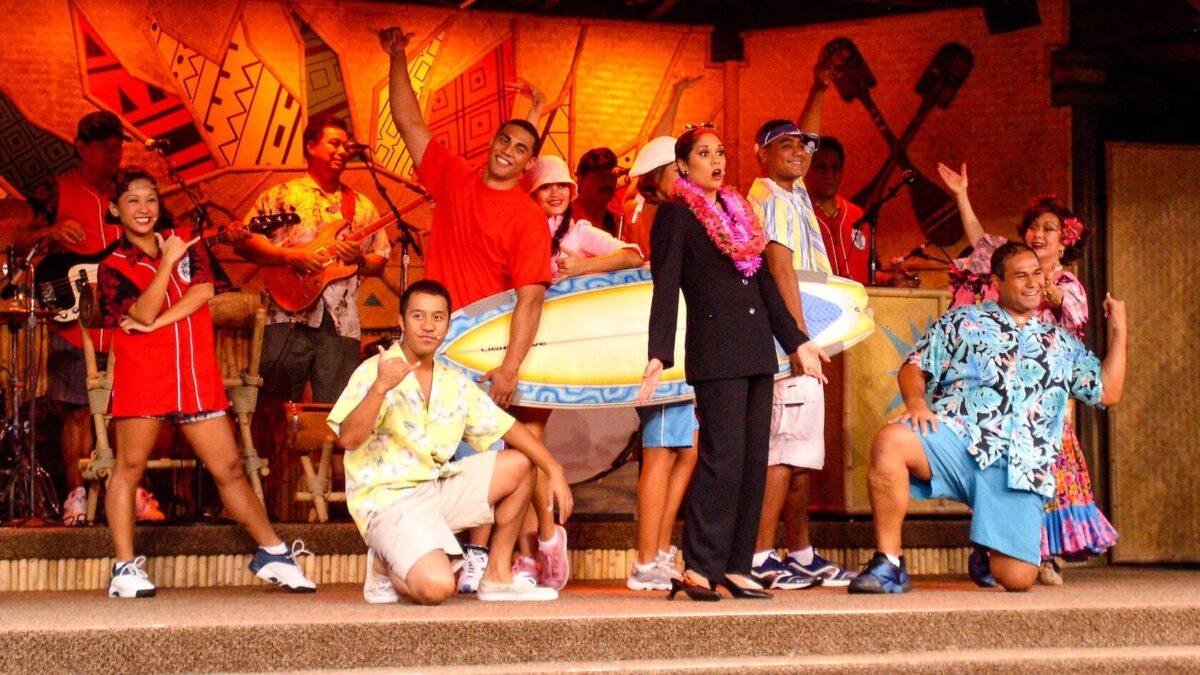 Hawaiian performers on stage