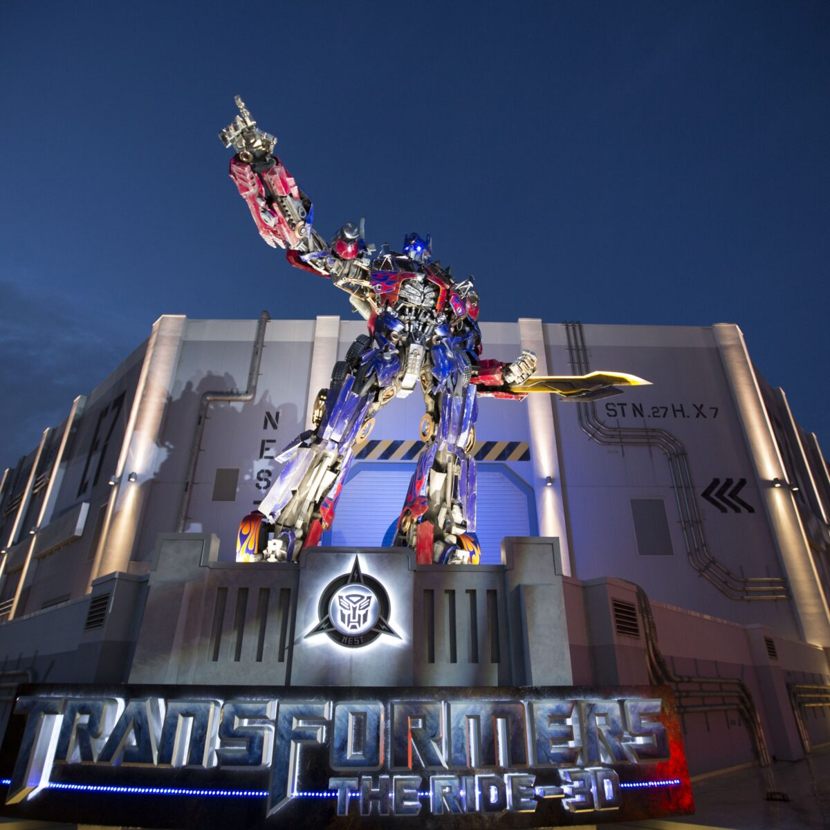 Optimus Prime on top of a building
