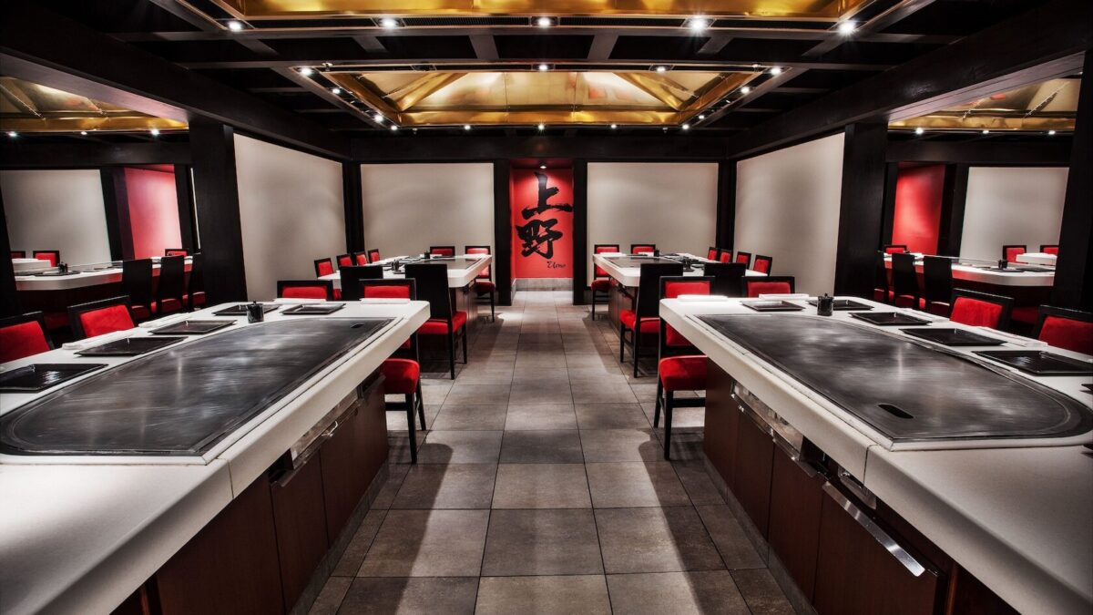 Hibachi grills in Japanese restaurant