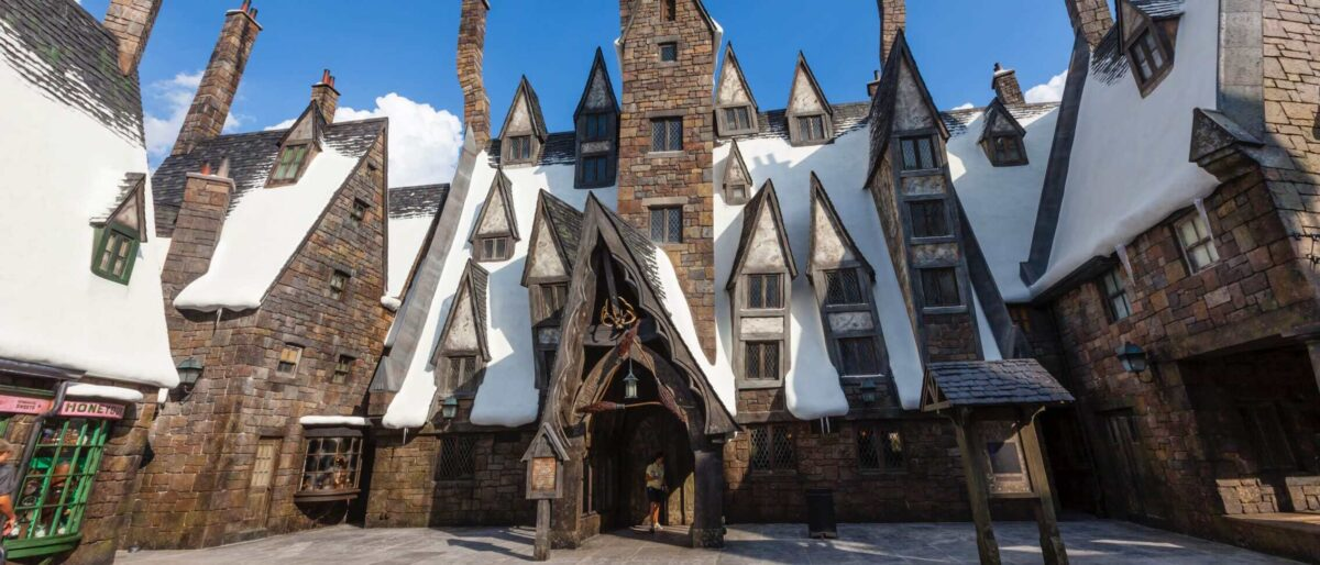 Three Broomsticks Building with snow