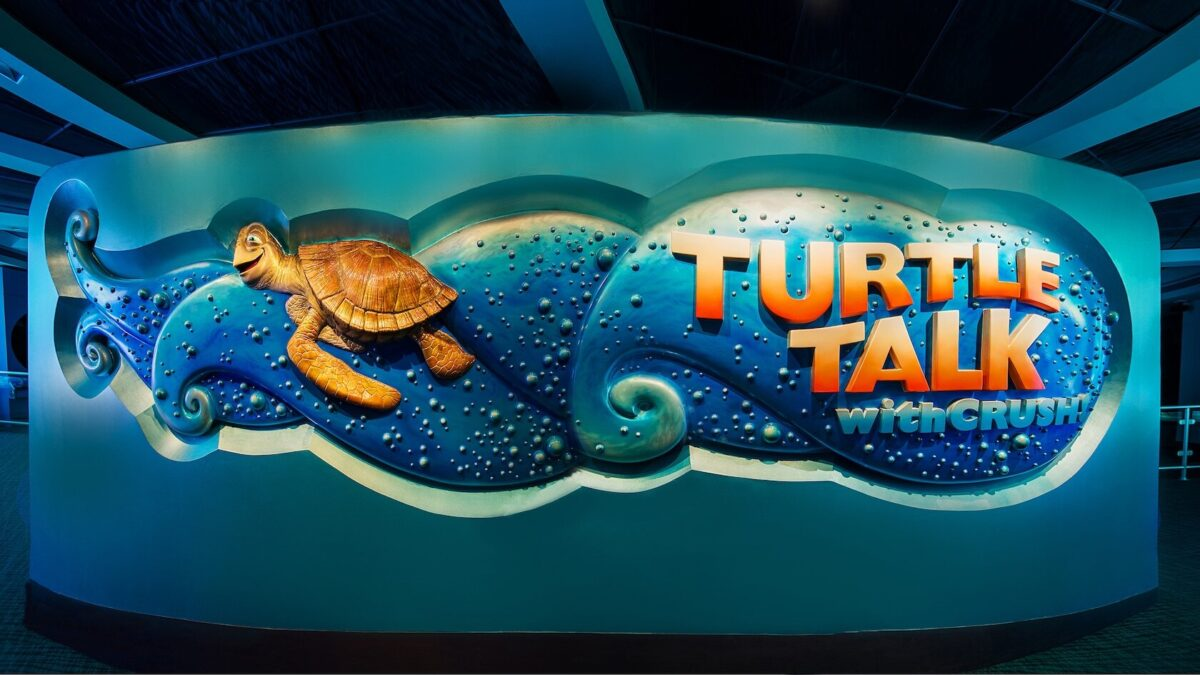 Turtle Talk signage on wall with Cruch