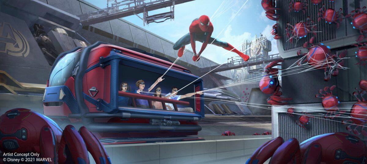 Spider-Man Slinging webs from ride