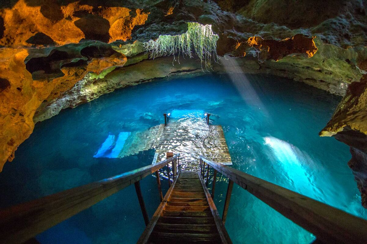 Cave pool with small dock