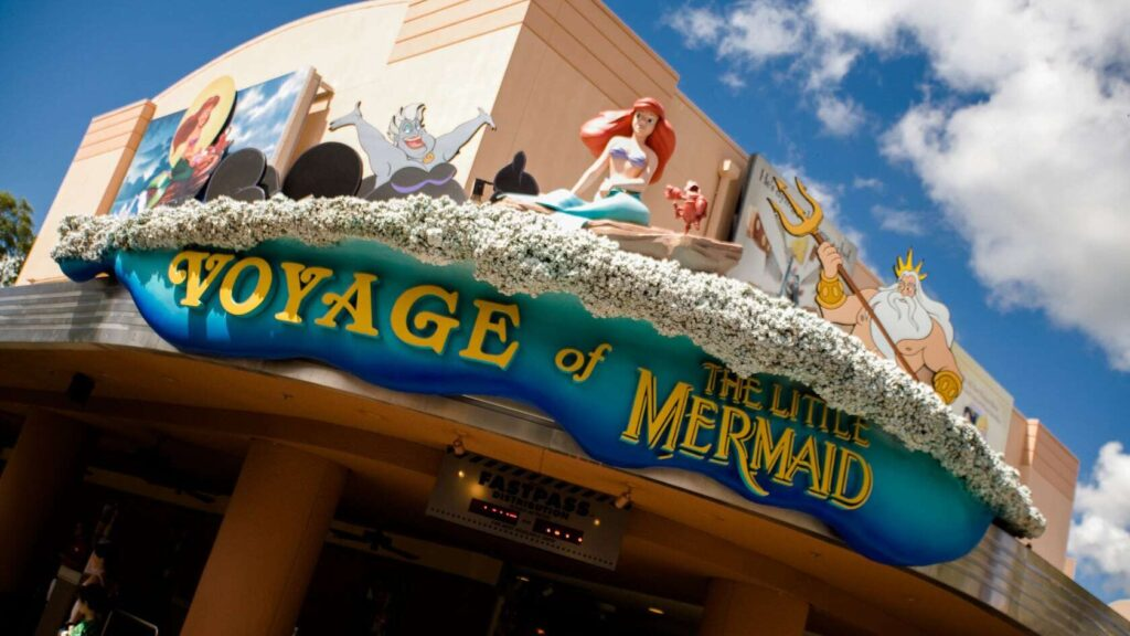 Ariel and Little Mermaid characters on building