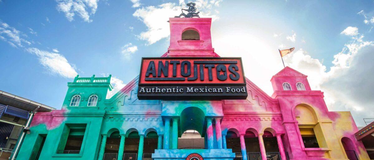 Colorful exterior of Antojitos restaurant