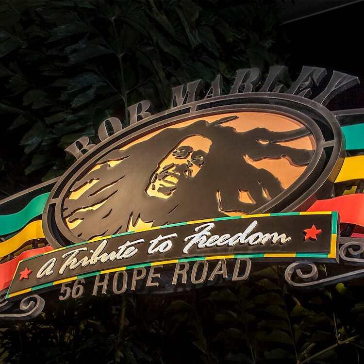Bob Marley on a sign