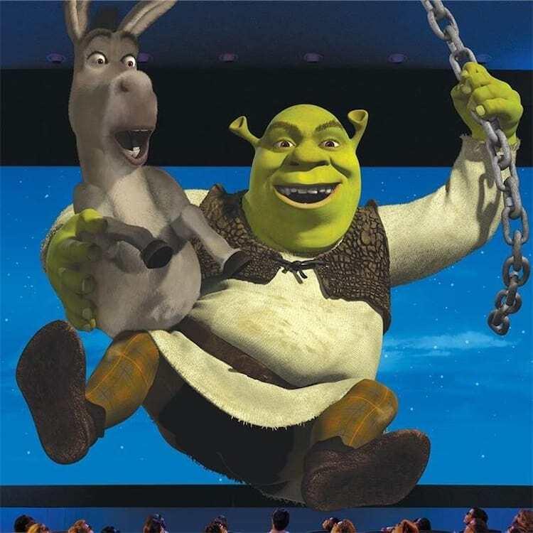 Shrek and Donkey swinging on a chain
