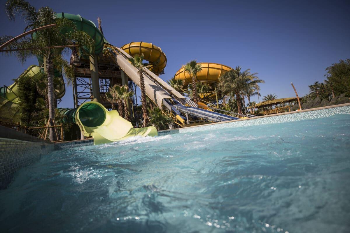 Tube slides going into pool