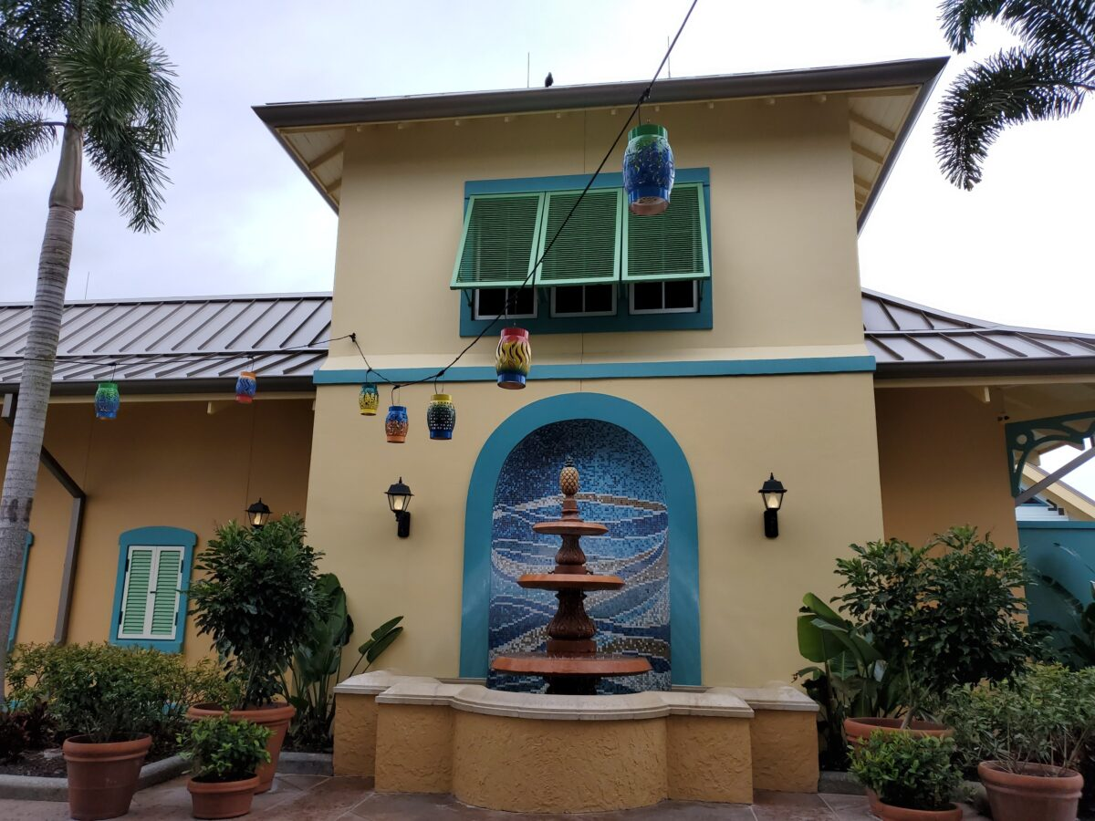 Building with water fountain