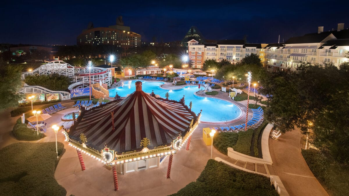 Pool at night with carousel