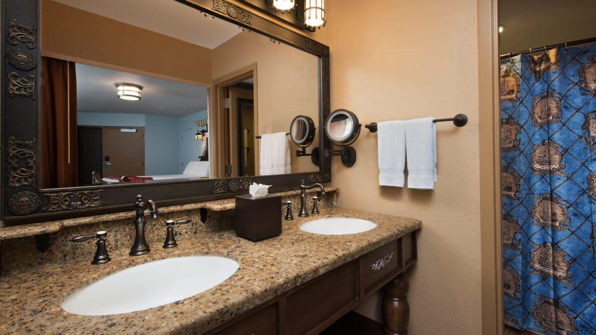 Dual vanity and shower