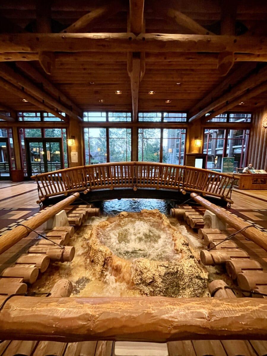 Geyser inside lobby of hotel