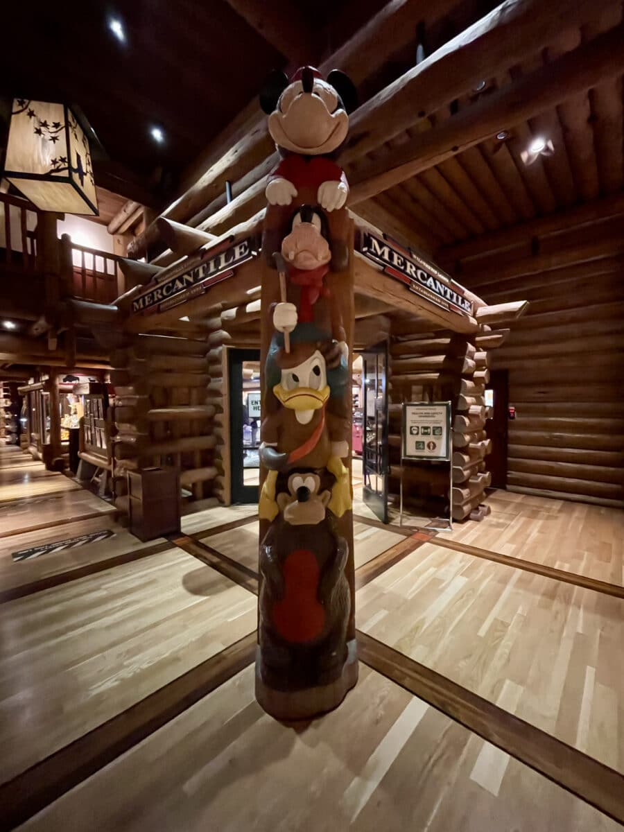 Totem pole with Mickey and friends