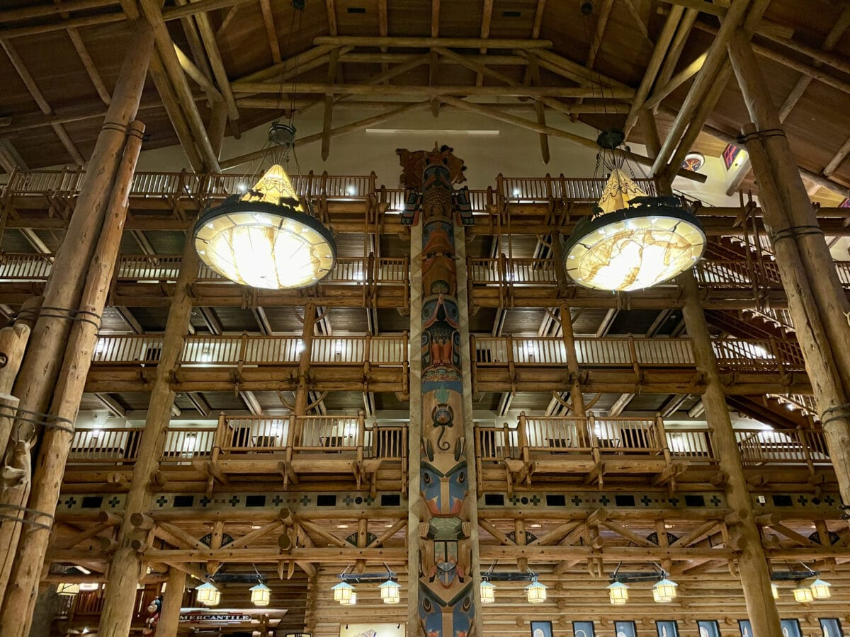 Lobby of Hotel with lights and wood