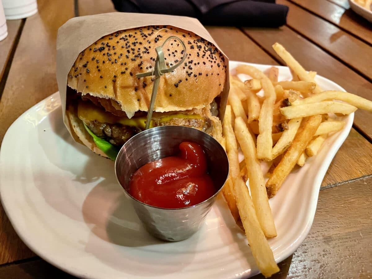 Hamburger with fries and ketchup