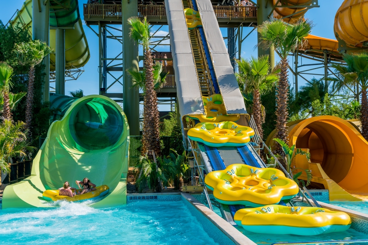 Tube slides with water rafts