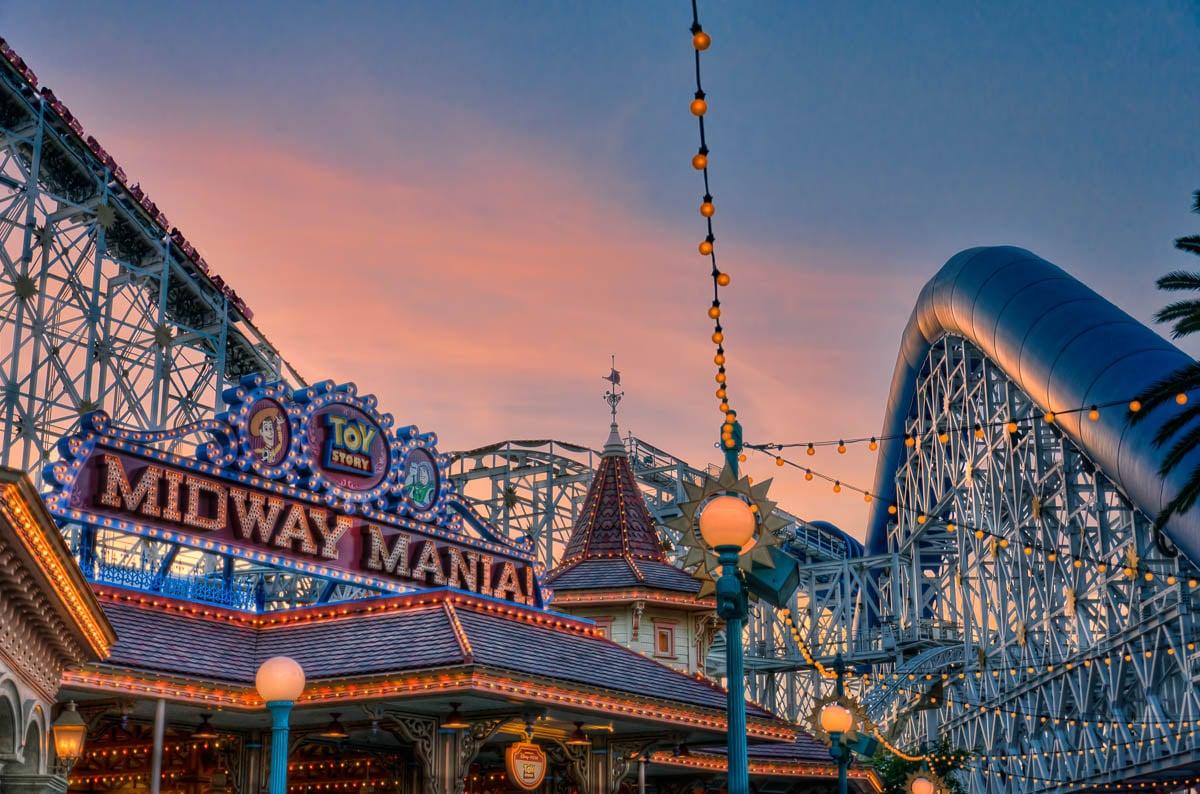 Roller coaster at twilight