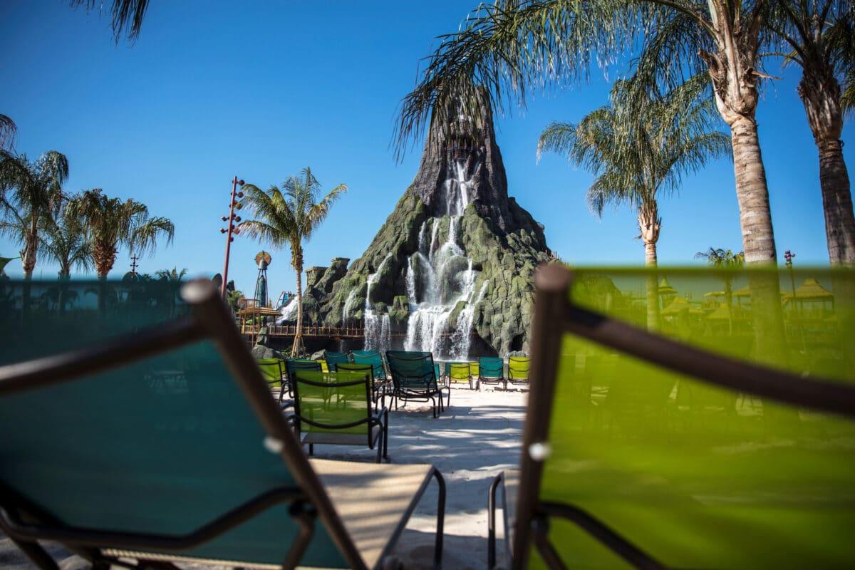Beach chairs facing volcano pool